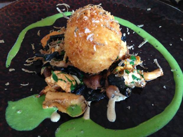 crispy duck egg with wild mushrooms